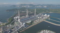Aerial view of the Lamma island power station, electricity generation Hong Kong Stock Footage