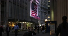 New York Stock Exchange Exterior at Night 4K Stock Video Stock Footage