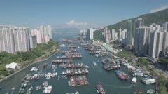 High angle aerial view of fishing fleet in Aberdeen Harbour Hong Kong Stock Footage