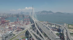 Aerial drone flight to cable-stayed Stonecutters Bridge in Hong Kong Stock Footage
