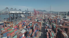 Aerial view of busy container terminal, global trade, Hong Kong Port Stock Footage