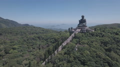 Aerial view of big Buddha statue, monastery religion Hong Kong Asia Stock Footage