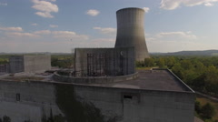 Abandoned Nuclear Power Plant Reactor With Vultures Stock Footage
