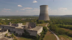 Abandoned Nuclear Power Plant With Vultures Stock Footage
