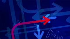Arrows background. Loop between 6 seconds to 41 seconds. Blue with 1 red arrow. Stock Footage