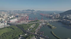 Establishing aerial video of the Port of Hong Kong and the city's skyline Stock Footage