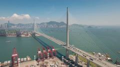 Infrastructure transportation Hong Kong, cable-stayed bridge intersection Stock Footage
