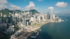Aerial drone flight skyscrapers skyline modern Hong Kong city Arkistovideo