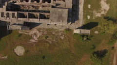 Bird's Eye View Abandoned Nuclear Power Plant Stock Footage