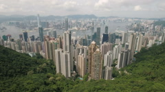 Stunning aerial panorama of commercial and residential skyscrapers Hong Kong Stock Footage