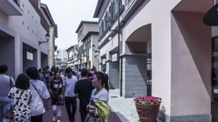 Walking among the famous brand shop in Florentia Village, Tianjin, China Stock Footage