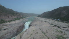 Aerial view of the Hukou Waterfalls on the Yellow River in China Stock Footage