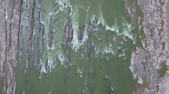 Overhead aerial view of Yellow River flowing through valley China Stock Footage