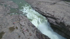 Panning aerial view of the Hukou waterfall, part of the Yellow river in China Stock Footage
