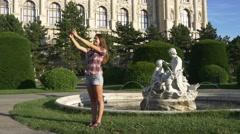 Selfie portrait around Vienna tour Stock Footage
