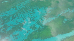 Aerial drone view turquoise blue lakes, reflection clouds, landscape China Stock Footage