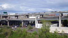 Aerial Portland, Hawthorne bridge at Willamette river Stock Footage
