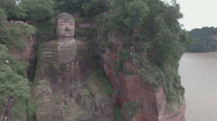 Static aerial shot of the giant Buddha statue in Leshan, China Stock Footage