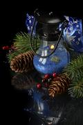 Christmas composition in blue Stock Photos