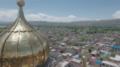 Aerial shot small community mosque, panoramic landscape, Islam in China Stock Footage