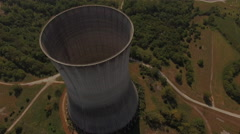 Flying Over Nuclear Power Plant Cooling Tower Stock Footage