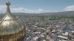 Flying through the pillars of a graceful village mosque in central China Stock Footage