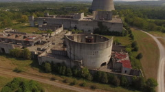 Flying Low Abandoned Nuclear Power Plant Reactors Stock Footage