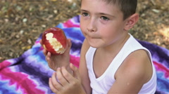 Little boy eating a juicy red apple in the Park on a blanket Stock Footage