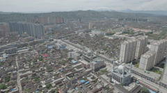 Aerial flight over important Muslim city in China Stock Footage