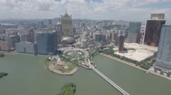 Aerial drone flight of glitzy casino strip and skyline Macau Stock Footage