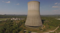 Orbiting Abandoned Nuclear Power Plant Cooling Tower Stock Footage