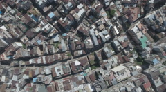 Overhead aerial shot of narrow streets Macau, urban maze Stock Footage