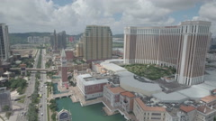 Aerial drone shot of the Venetian in Macau, the largest casino in the world Stock Footage