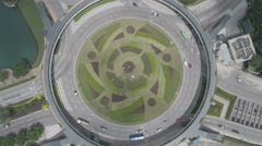 Aerial static drone shot of a roundabout in Macau Stock Footage