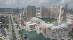 Establishing drone shot of the Venetian, the largest casino in the world, Macau Arkistovideo