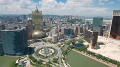 Aerial shot of the classic casino strip and skyline of Macau Stock Footage