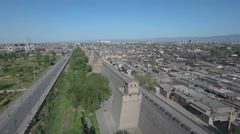 Aerial drone flight over the walled city Pingyao in Shanxi, China Stock Footage