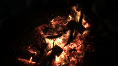 Roasting hot dogs on a campfire Stock Footage