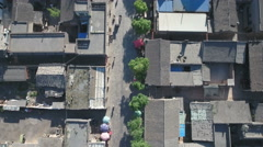 Overhead aerial view of courtyard homes, traditional architecture China Stock Footage