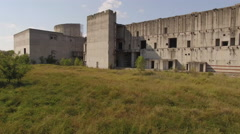 Rising Above Abandoned Nuclear Power Plant Stock Footage