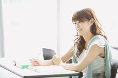 Young attractive Japanese female University student portrait Stock Photos