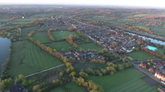 Descending Over English Countryside Near Oxford Stock Footage