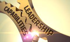 Leadership Capabilities Concept. Golden Metallic Cog Gears. 3D Stock Illustration
