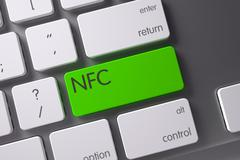 Keyboard with Green Button - NFC. 3D Stock Illustration
