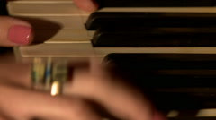 View of professional musician plays piano Stock Footage