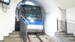Funicular approaching platform Stock Footage