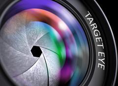 Closeup Lens of Reflex Camera with Target Eye. 3D Stock Illustration