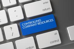 Blue Controlling Company Resources Keypad on Keyboard. 3D Stock Illustration