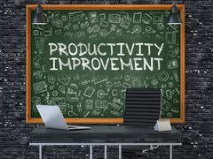 Productivity Improvement - Hand Drawn on Green Chalkboard. 3D Stock Illustration