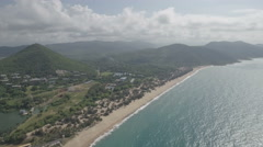 Aerial view mountain landscape coastline tropical Hainan island, South China Sea Stock Footage